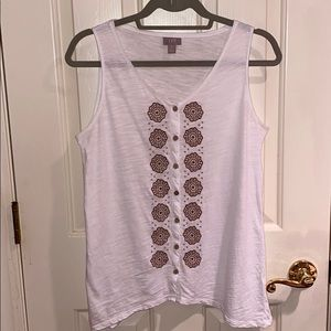 J.Jill embroidered button down tank white brown SP